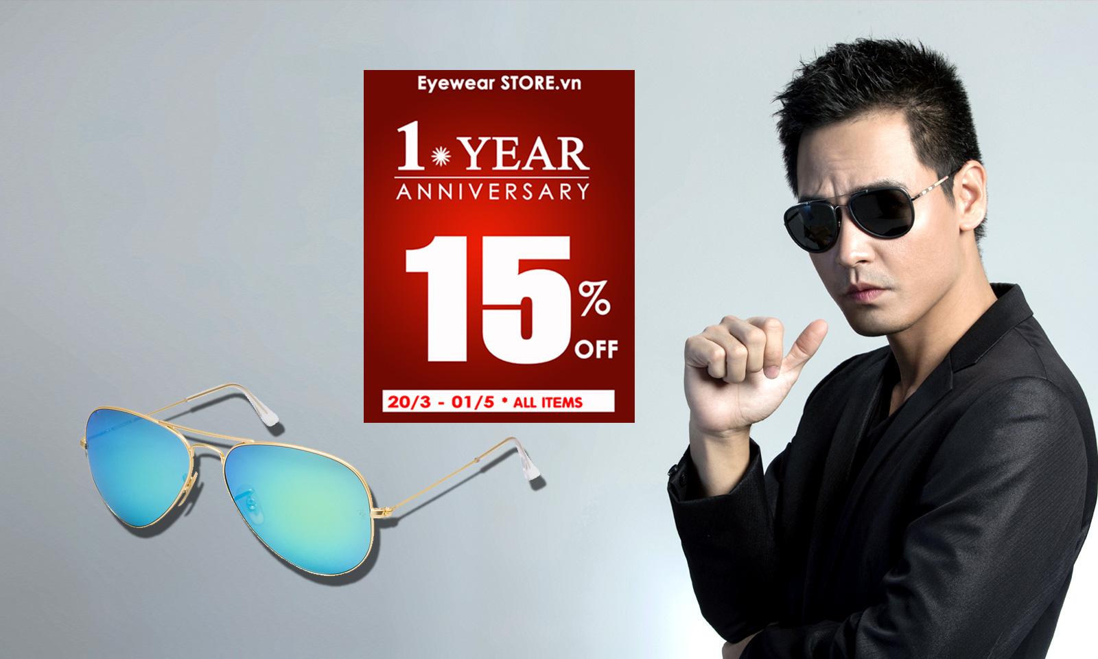 Chương trình khuyến mại kỷ niệm 1 năm thành lập hệ thống phân phối và bán lẻ kính mắt cao cấp Eyewear STORE.vn